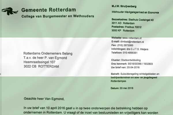 Antwoorden van College Rotterdam op vragen over subsidieregeling en Rotterdampas
