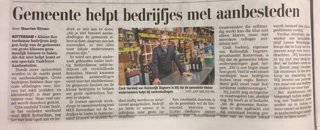 Vicevoorzitter Cok Verkley vraag aandacht voor lokale aanbesteding in de Telegraaf