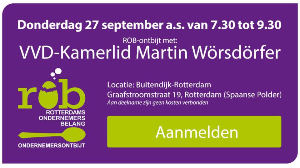 Vij. 27 september a.s.: ROB-Ontbijt met VVD-Kamerlid Martin Wörsdörfer
