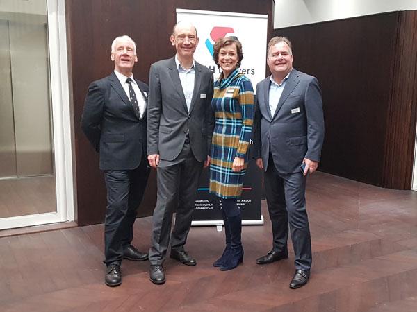 Cees de Vroomen (LS&H Lawyers), Pieter van Egmond (Voorzitter Rotterdam Ondernemersbelang), Nicole Kien (LS&H Lawyers) en Hans Biesheuvel (ONL voor Ondernemers) - Ontbijt bij LS&H Lawyers 7 november 2019