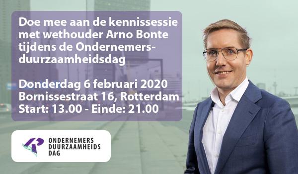 Doe mee aan de kennissessie met wethouder Arno Bonte tijdens de Ondernemersduurzaamheidsdag op 6 februari a.s.