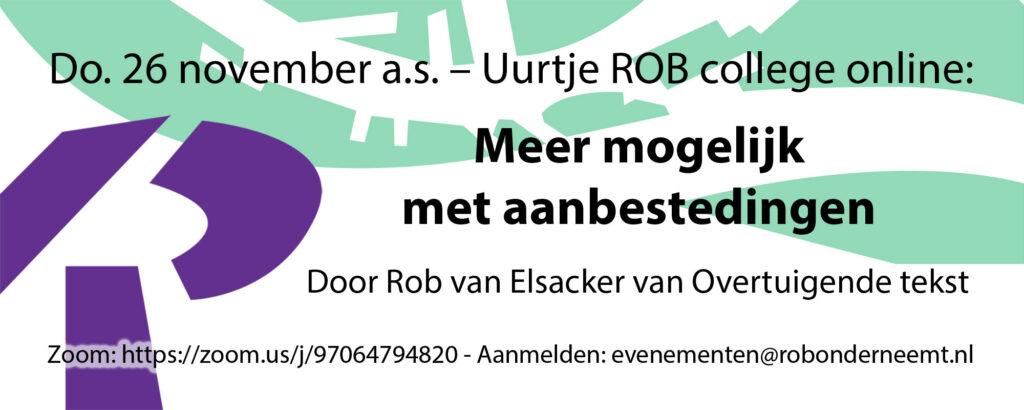 Do. 26 november a.s. – Uurtje ROB college online: Meer mogelijk met aanbestedingen