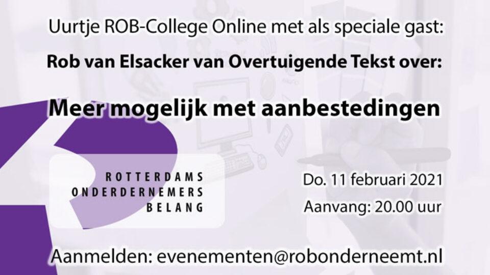 Do. 11 februari a.s.: ROB-Online college: Meer mogelijk met aanbestedingen door Rob van Elsacker