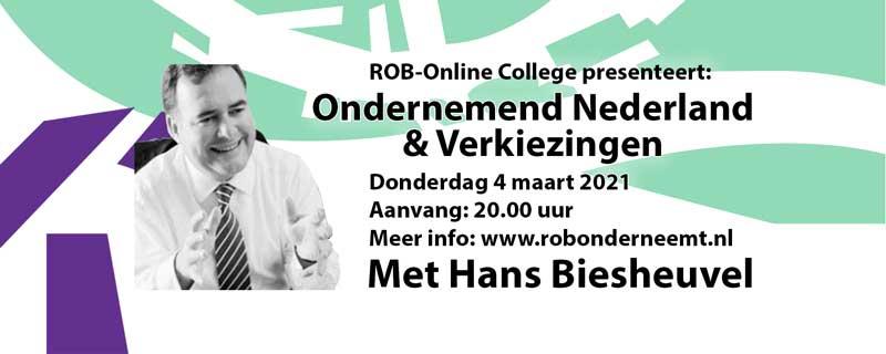 Do. 4 maart a.s. Hans Biesheuvel van ONL over verkiezingen in ROB-Online College