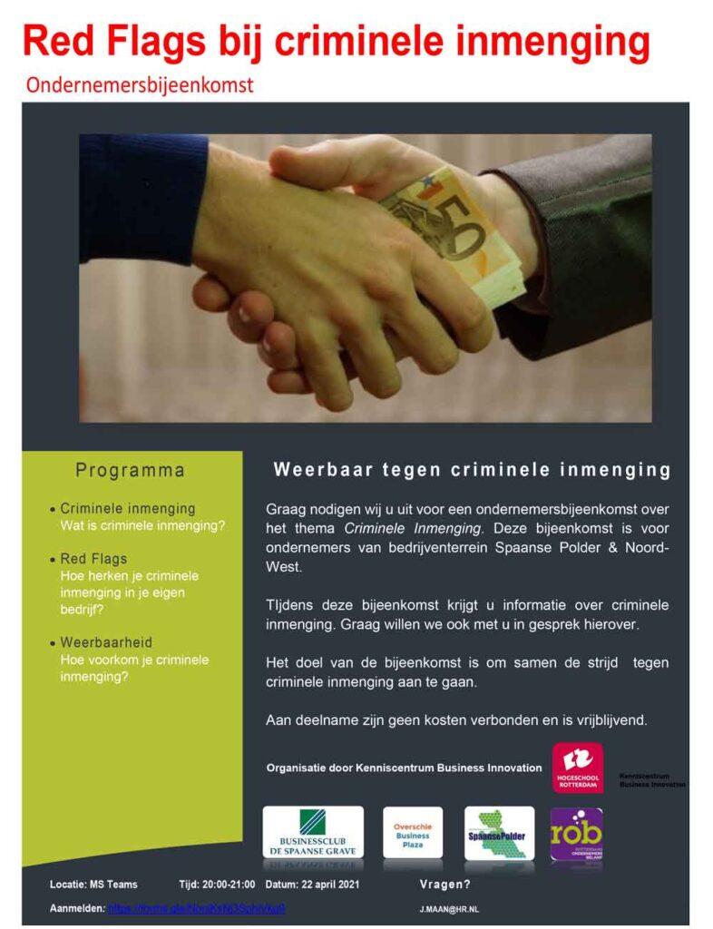 Do. 22 april a.s.: Weerbaar tegen criminele inmenging (20.00 uur Online)